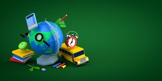 3d-illustration school supplies low poly concept on green background copy space
