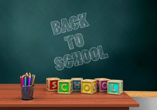 3d blank. 3d illustration of schoolboard with back to school text and letters cubes Stock Image