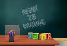 3d pencils. 3d illustration of schoolboard with back to school text and math cubes Royalty Free Stock Photos
