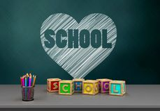 3d pencils. 3d illustration of schoolboard with heart and school text and letters cubes Royalty Free Stock Images
