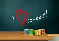 3d blank. 3d illustration of schoolboard with love school text and math cubes Stock Images