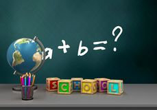 3d math exercise. 3d illustration of schoolboard with math exercise text and letters cubes Stock Photos