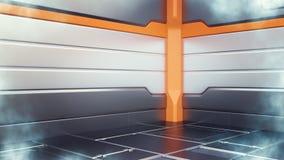 3d illustration of sci-fi cryogenic freezer farm corridor interior royalty free illustration