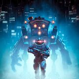 Cyberpunk soldier mech patrol. 3D illustration of science fiction military cyborg warrior patrolling futuristic dystopian city with giant robot
