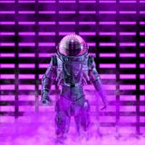 The dark neon astronaut royalty free stock images