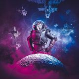 Intergalactic female space hero. 3D illustration of science fiction scene showing heroic woman astronaut rising above moon with fleet of spaceships in the Royalty Free Stock Photo