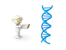 3D illustration of scientist taking notes from DNA double helix Royalty Free Stock Images
