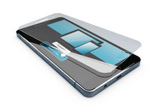 3d Illustration of Screen protector film or glass cover isolated white.  Stock Image