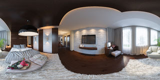 3d illustration seamless panorama of bedroom interior design. Royalty Free Stock Photo