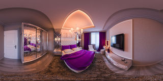 3d illustration seamless panorama of bedroom interior design. Royalty Free Stock Photos