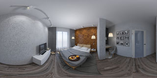 3d illustration seamless panorama of bedroom interior design. Royalty Free Stock Image