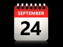 3d 24 september calendar. 3d illustration of 24 september calendar over black background Royalty Free Stock Photo
