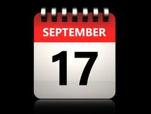 3d 17 september calendar. 3d illustration of 17 september calendar over black background Stock Image