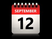 3d 12 september calendar. 3d illustration of 12 september calendar over black background Stock Images