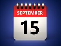 3d 15 september calendar. 3d illustration of 15 september calendar over blue background Royalty Free Stock Images