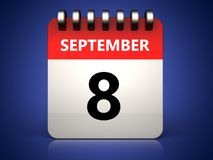 3d 8 september calendar. 3d illustration of 8 september calendar over blue background Stock Photo