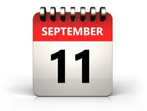 3d 11 september calendar. 3d illustration of 11 september calendar over white background Stock Image