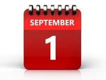 3d 1 september calendar. 3d illustration of september 1 calendar over white background Royalty Free Stock Image