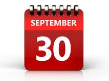 3d 30 september calendar. 3d illustration of september 30 calendar over white background Royalty Free Stock Photos