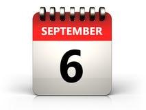3d 6 september calendar. 3d illustration of 6 september calendar over white background Stock Photography