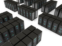 3d illustration of server farm. Black server racks stand in rows on the floor Royalty Free Stock Photos
