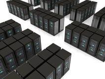 3d illustration of server farm. Black server racks stand in rows on the floor Stock Illustration