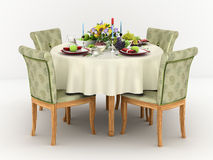 3d illustration of Serving a round dining table. For four persons Stock Photo
