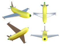 3D illustration a set of Banana airplane. 3D illustration a set of Banana airplane isolated on white background Royalty Free Stock Images