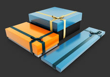 3d illustration of Set of blue and orange gift boxes with bows and ribbons. Royalty Free Stock Photography