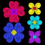 3D illustration set of diamond flowers Royalty Free Stock Photos