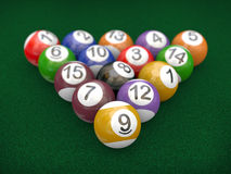 3d racked billiard pool balls. 3d illustration of set of racked billiard pool balls on table with the 8 ball in the center Stock Images