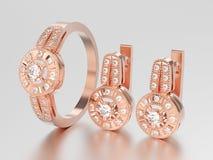3D illustration set of rose gold decorative diamond earrings wit Royalty Free Stock Image
