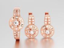 3D illustration set of rose gold decorative diamond earrings wit Royalty Free Stock Photos