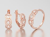 3D illustration set of rose gold decorative diamond earrings wit Royalty Free Stock Images