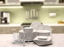 3d illustration of a set of white plates and glasses Royalty Free Stock Photo