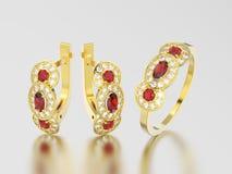3D illustration set of yellow gold decorative diamond ruby earri Stock Photo