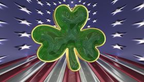 A shamrock isolated against an USA flag background Stock Images