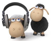 3d illustration sheep listen to the music Royalty Free Stock Photos