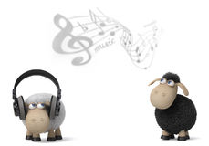3d illustration sheep listen to the music Stock Photography