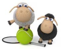 3d illustration sheep play tennis Royalty Free Stock Photos