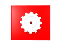 3D illustration of a shiny cog over a red background Stock Photo