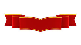 3D illustration of shiny red ribbon with gold strips Royalty Free Stock Image