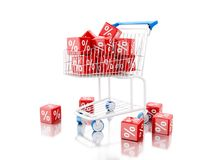 3d Shopping cart with discount cubes. 3d illustration. Shopping cart with discount cubes. Shop concept. Isolated white background Stock Photos