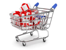 Shopping cart with gift boxes Stock Photo