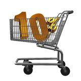 3D illustration of Shopping cart with 10 pocent discount in gold isolated. On white background vector illustration