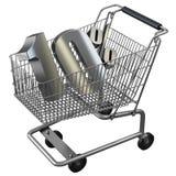 3D illustration of Shopping cart with 10 pocent discount in silver. 3D illustration of Shopping cart with 10 pocent discount in gold isolated on white vector illustration