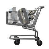 3D illustration of Shopping cart with 10 pocent discount in silver. 3D illustration of Shopping cart with 10 pocent discount in gold isolated on white stock illustration