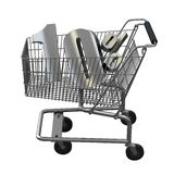 3D illustration of Shopping cart with 10 pocent discount in silver. 3D illustration of Shopping cart with 10 pocent discount in gold isolated on white royalty free illustration