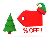 3D illustration showing christmas holiday price cut reduction or. Sales promotion. Image depicting the Christmas sale stock illustration