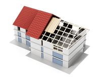 3D illustration showing layers of a building roof. 3D illustration.  Royalty Free Stock Photos